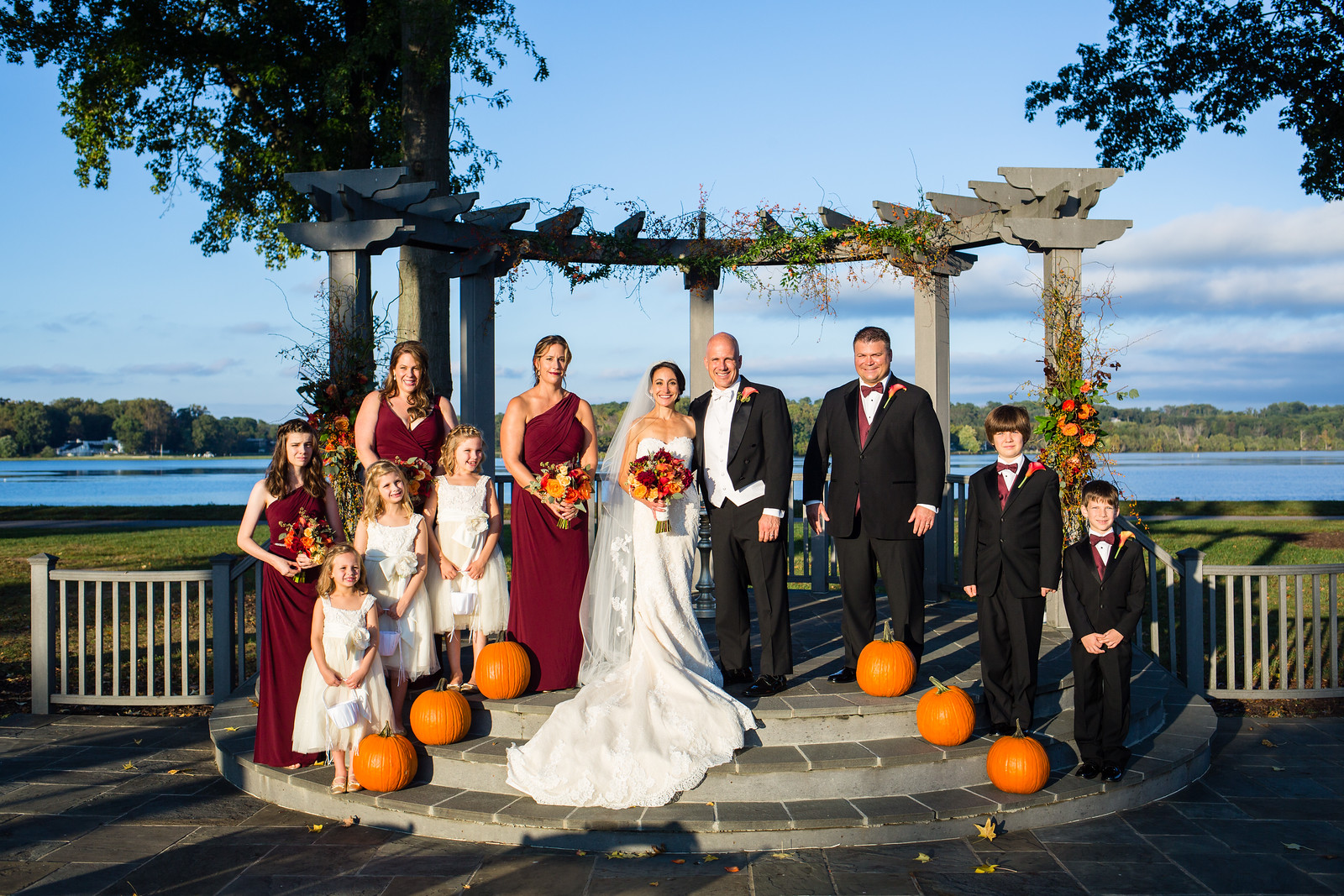 outdoor fall wedding ceremony by perfect planning events